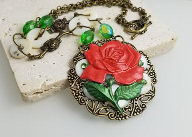 Red Rose Collage Necklace
