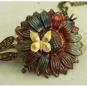 Raku Sunflower Necklace