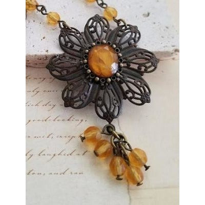 Amber & Rusted Brass Necklace