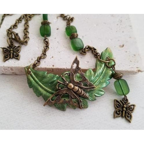 Butterfly on Leaf Necklace