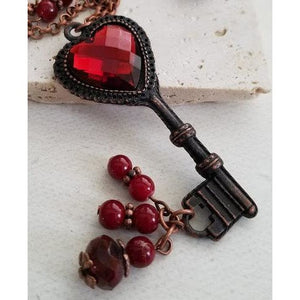 Red Heart Key Necklace