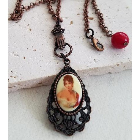 Lady in Red Cameo on Rusted Iron Pewter