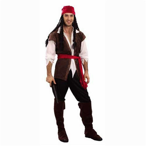 Mens Caribbean Pirate Swashbuckler Fancy Dress Costume Outfit