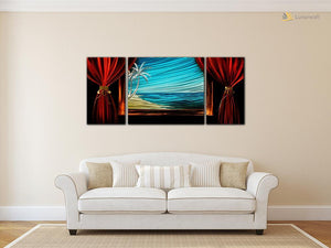 Luvurwall 3 Panel Beachfront Metal Wall Art