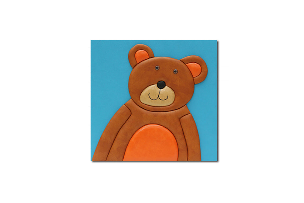 """Bear"" Leather Wall Art, Single Canvas, 19x19"""