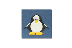 """Penguin"" Leather Wall Art, Single Canvas, 19x19"""