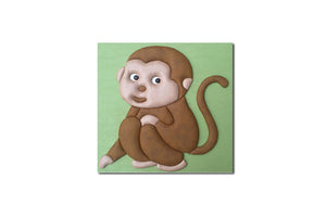 """Monkey"" Leather Wall Art, Single Canvas, 19x19"""