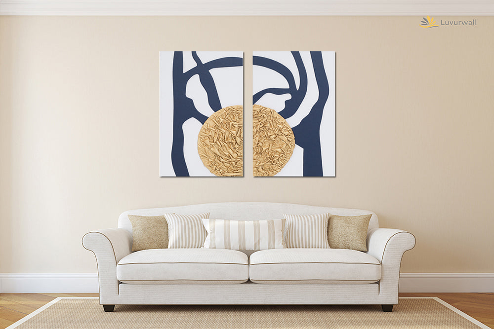 """Moon and Tree Abstract, Leather Wall Art, 2 Panels, 16x32"""