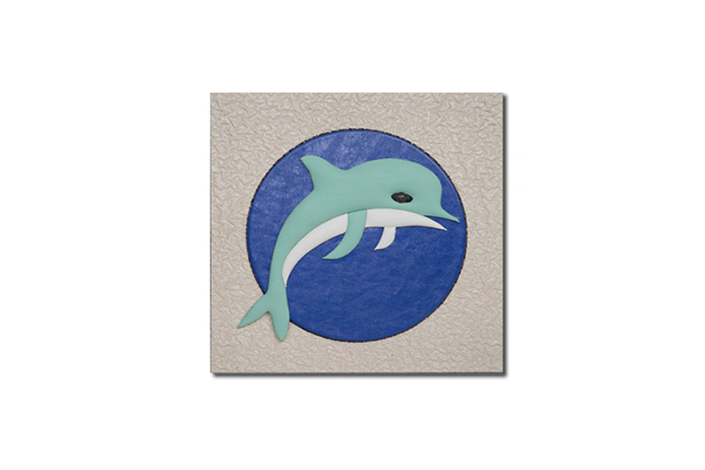 """Dolphin"" Leather Wall Art, Single Canvas, 19x19"""