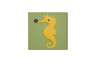 """Sea Horse"" Leather Wall Art, Single Canvas, 19x19"""