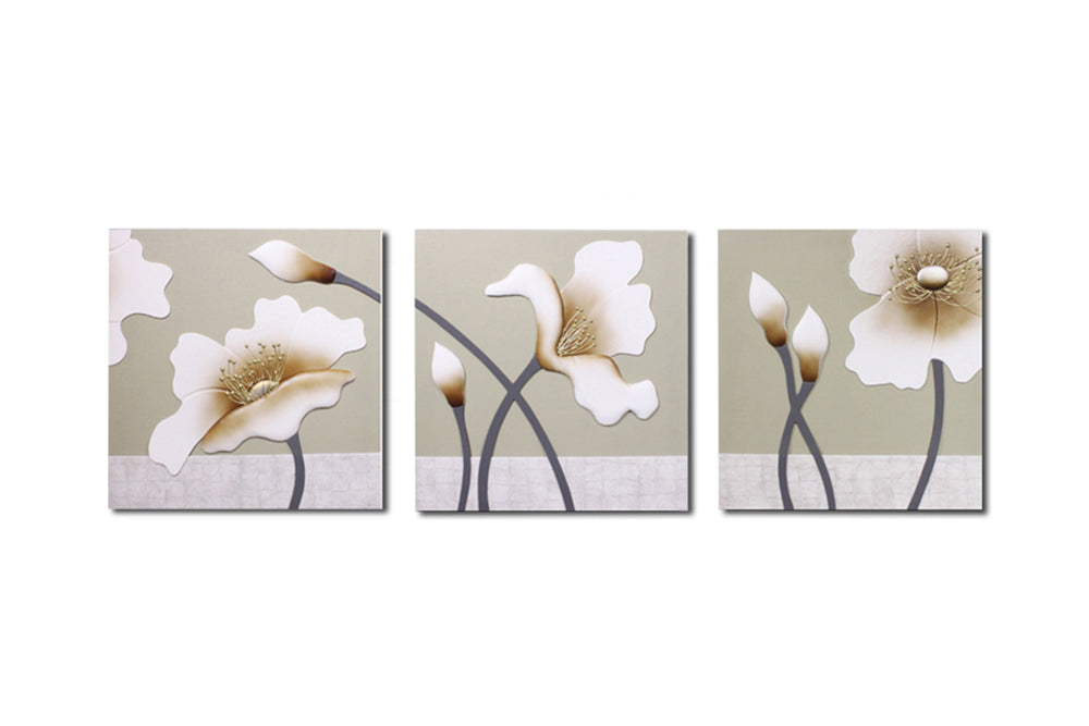 """Lilies"" Leather Wall Art, 3 Panels, 32x24"""