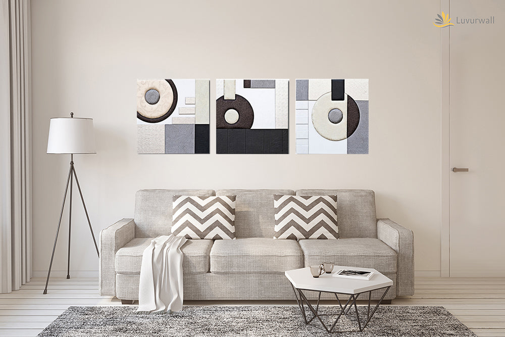 """Geometric"" Leather Wall Art, 3 Panels, 32x24"""