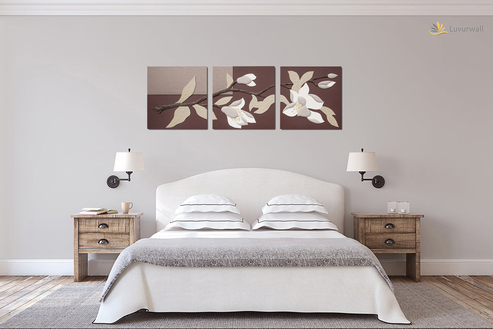 """Orchid"" Leather Wall Art, 3 Panels, 32x24"""