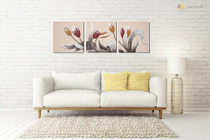 """Tulips"" Leather Wall Art, 3 Panels, 32x24"""