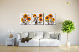 """Sunflower"" Leather Wall Art, 3 Panels, 32x24"""