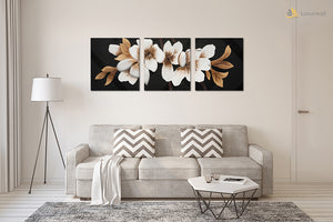 """Dahlia"" Leather Wall Art, 3 Panels, 19x19"""