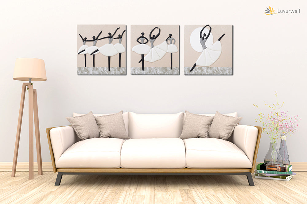 """Ballerinas"" Leather Wall Art, 3 Panels, 32x24"""