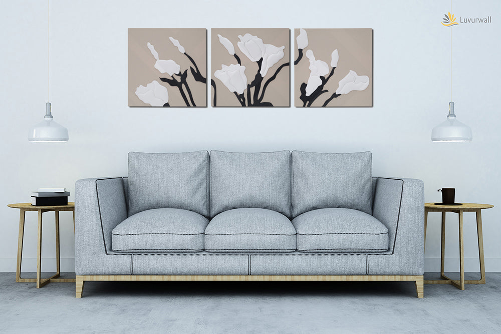 """White Roses"" Leather Wall Art, 3 Panels, 32x24"""