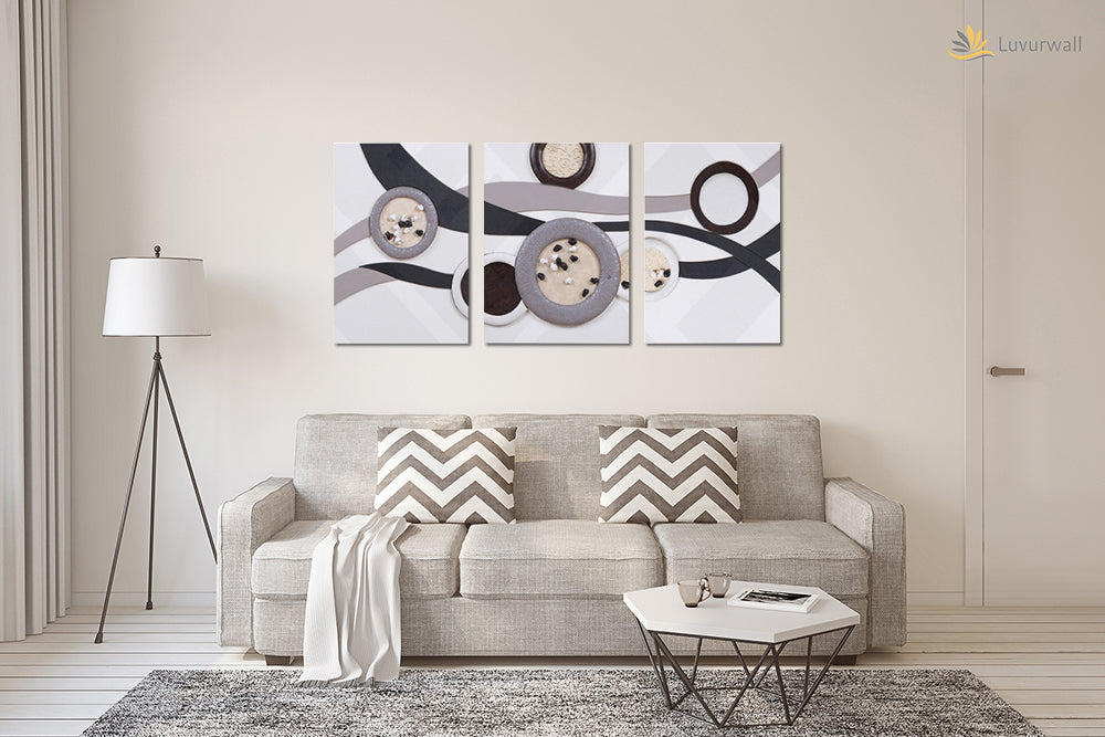 """Abstract"" Leather Wall Art, 3 Panels, 18x24"""