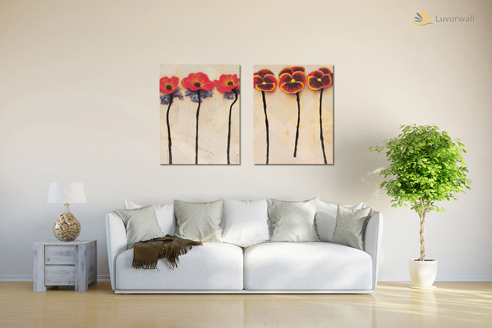 """Red Flowers"" Leather Wall Art, 3 Panels, 18x24"""