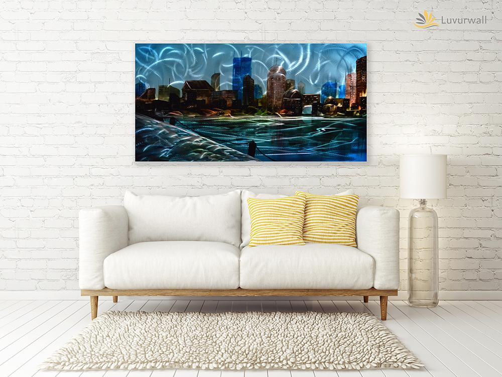 Luvurwall City View Metal Wall Art, Metal Wall Art - Luvurwall