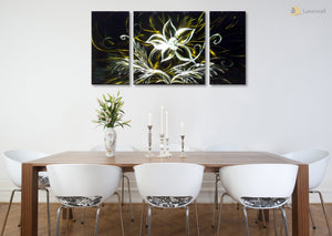 Luvurwall 3 Panel White Rose Metal Wall Art, Metal Wall Art - Luvurwall