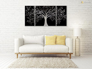 Luvurwall 3 Panel Tree of Life Metal Wall Art, Metal Wall Art - Luvurwall