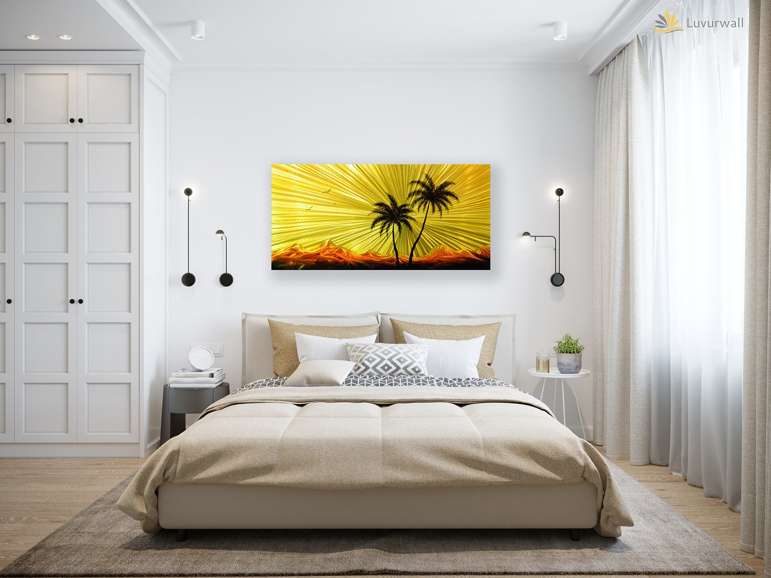 Luvurwall Palm Trees Metal Wall Art, Metal Wall Art - Luvurwall