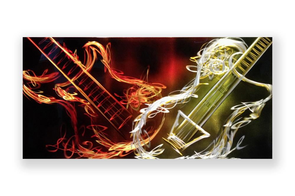 Luvurwall Double Guitar Metal Wall Art, Metal Wall Art - Luvurwall