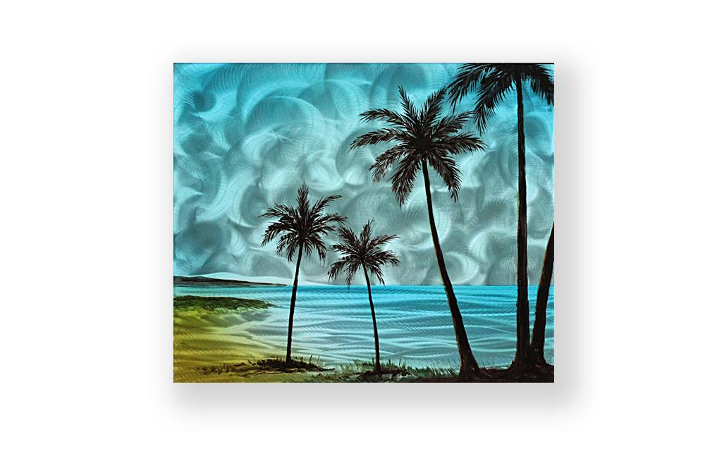 Luvurwall Palm Trees in Blue Sky Metal Wall Art, Metal Wall Art - Luvurwall