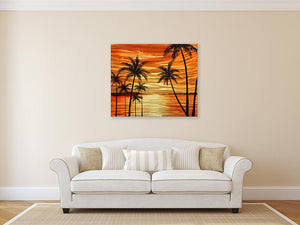 Luvurwall Palm Trees in Sunsent Metal Wall Art, Metal Wall Art - Luvurwall