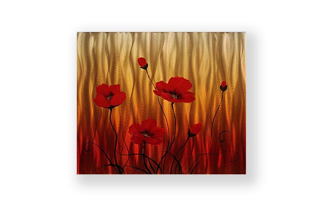 Luvurwall Red Flower Metal Wall Art, Metal Wall Art - Luvurwall