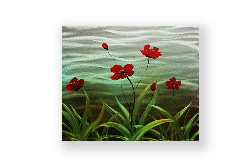 Luvurwall Red Flower With Leaves Metal Wall Art, Metal Wall Art - Luvurwall
