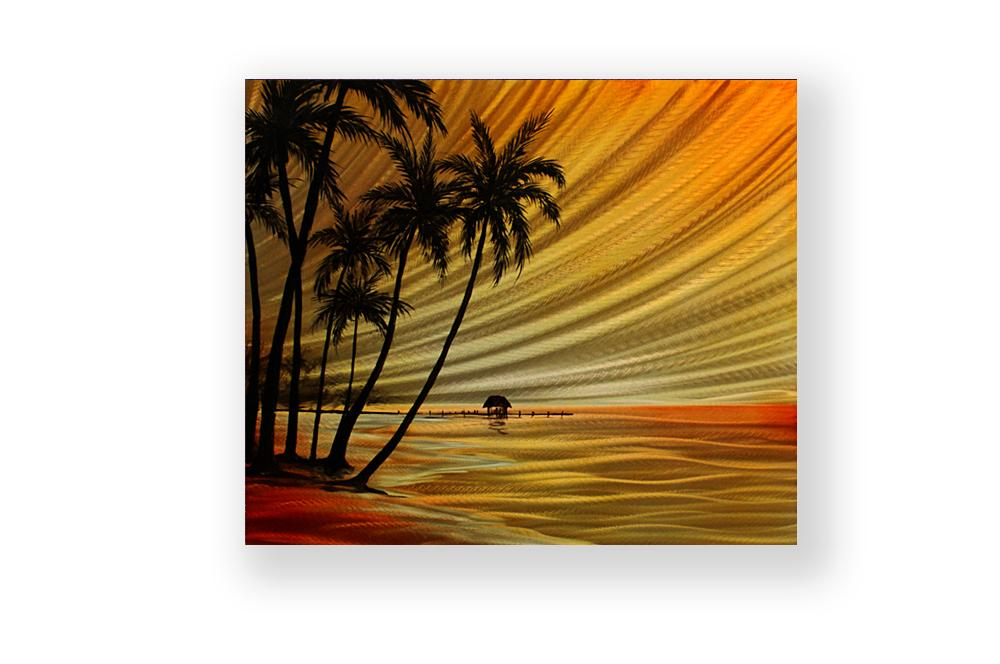 Luvurwall Small Cottage in Sunset Metal Wall Art, Metal Wall Art - Luvurwall