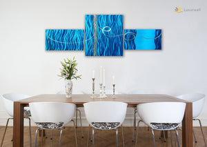 Luvurwall 3 Panel Underwater Metal Wall Art, Metal Wall Art - Luvurwall