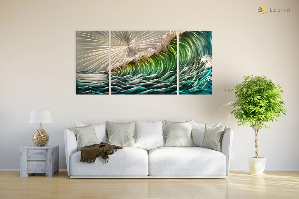 Luvurwall 3 Panel Wave Metal Wall Art, Metal Wall Art - Luvurwall