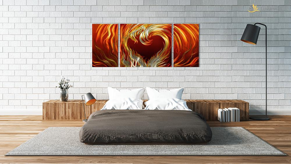 Luvurwall 3 Panel Fiery Heart Metal Wall Art, Metal Wall Art - Luvurwall