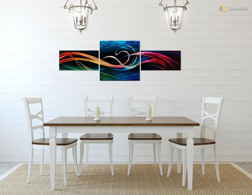 Luvurwall 3 Panel Multi Colored Underwater Metal Wall Art, Metal Wall Art - Luvurwall