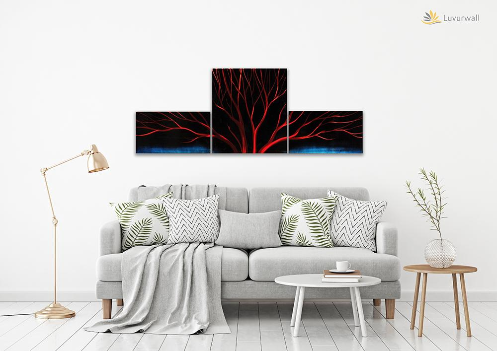 Luvurwall 3 Panel Red Tree Metal Wall Art, Metal Wall Art - Luvurwall