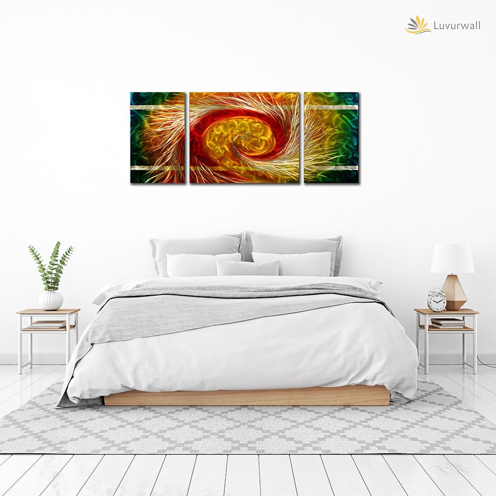 Luvurwall 3 Panel Multicolored Abstract Metal Wall Art, Metal Wall Art - Luvurwall