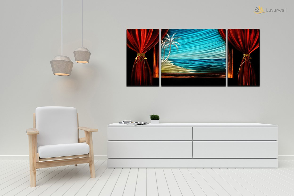 Luvurwall 3 Panel Beachfront Metal Wall Art, Metal Wall Art - Luvurwall