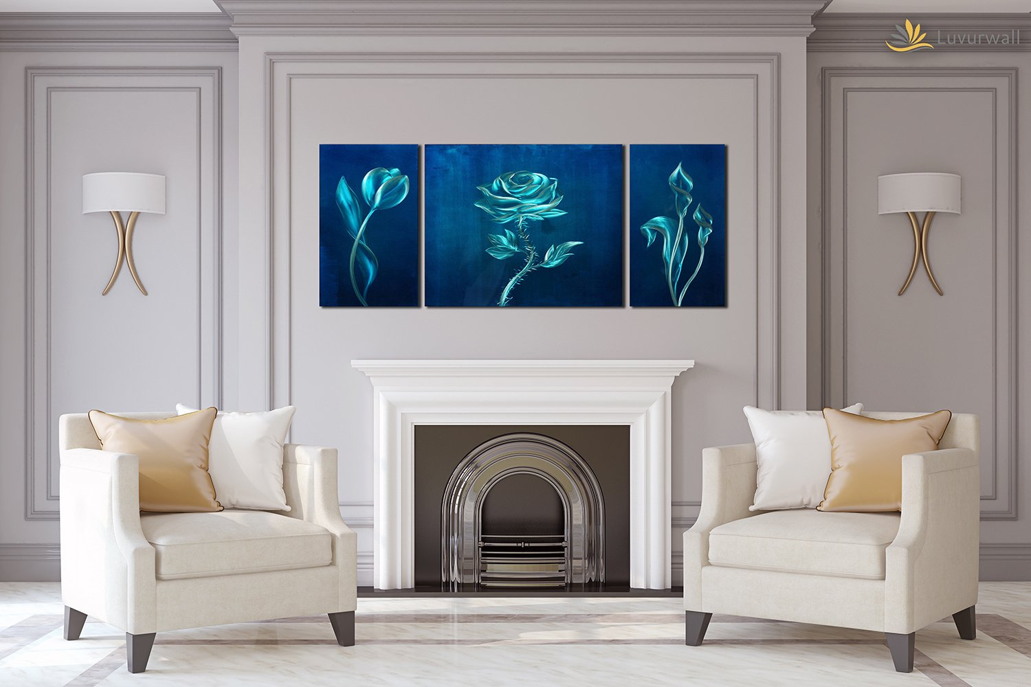 Luvurwall 3 Panel Plants in Blue Background Metal Wall Art, Metal Wall Art - Luvurwall