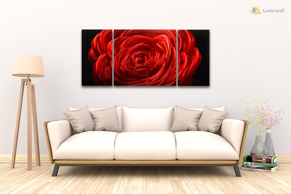 Luvurwall 3 Panel Red Rose Metal Wall Art, Metal Wall Art - Luvurwall