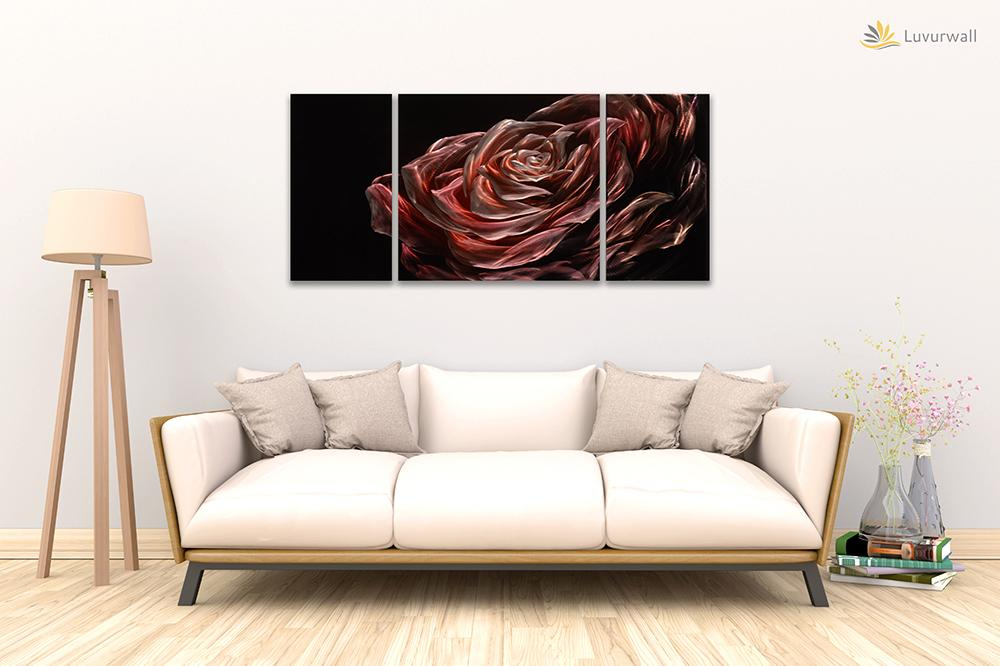 Luvurwall 3 Panel Big Rose Metal Wall Art, Metal Wall Art - Luvurwall