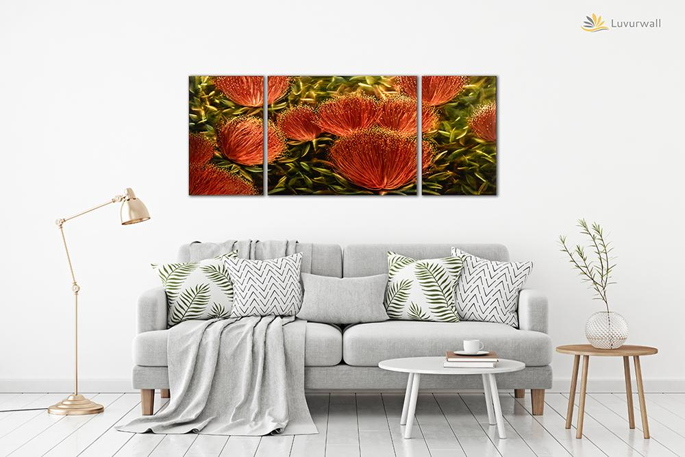 Luvurwall 3 Panel Red Flowers Metal Wall Art, Metal Wall Art - Luvurwall