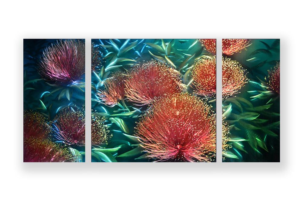 Luvurwall 3 Panel Waterlilies Metal Wall Art, Metal Wall Art - Luvurwall