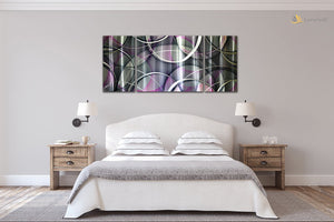 Luvurwall 3 Panel Circular Abstract Metal Wall Art, Metal Wall Art - Luvurwall