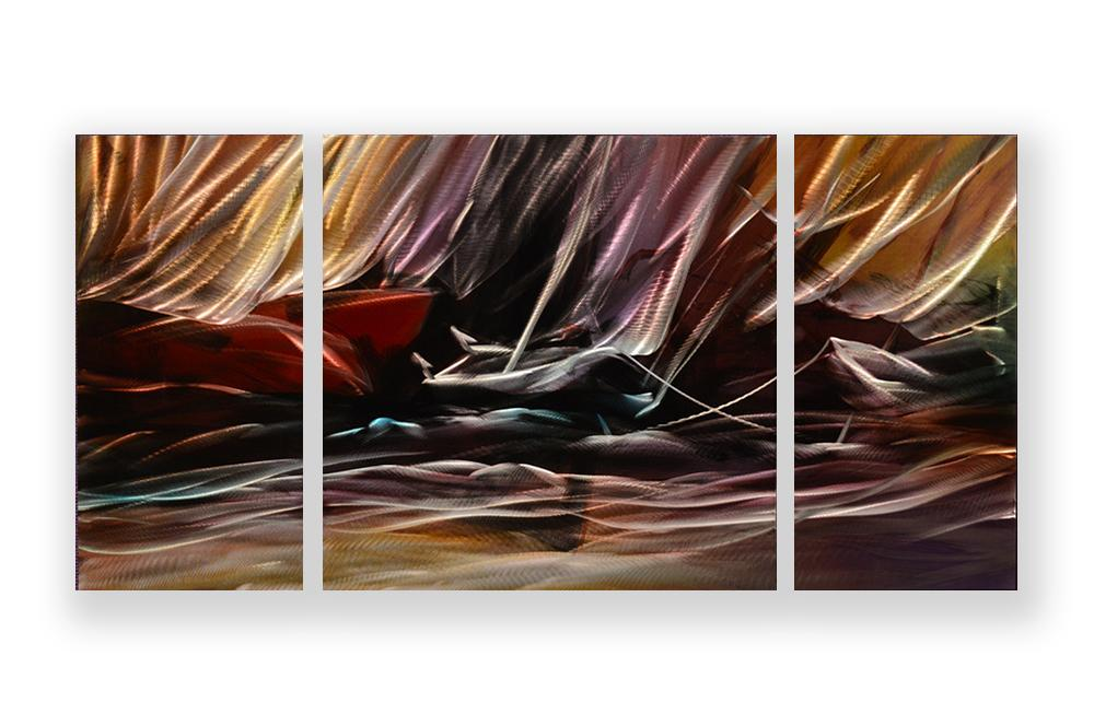 Luvurwall 3 Panel Canoe Metal Wall Art, Metal Wall Art - Luvurwall
