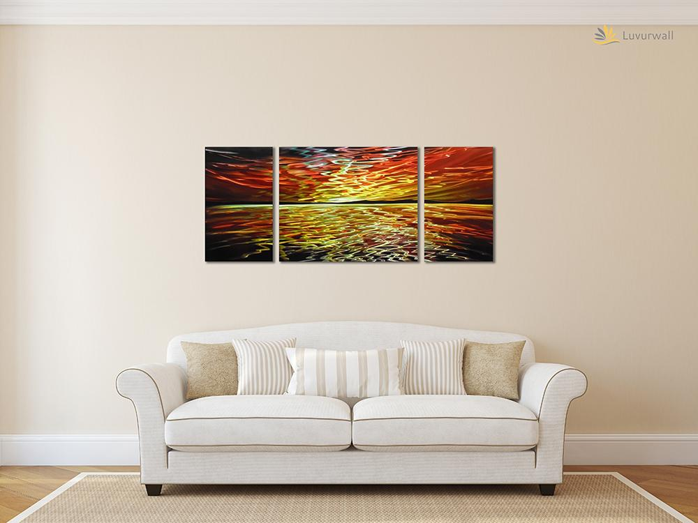 Luvurwall 3 Panel Horizon Metal Wall Art, Metal Wall Art - Luvurwall