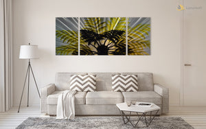 Luvurwall 3 Panel Palm Tree Metal Wall Art, Metal Wall Art - Luvurwall